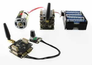 Two stacks, with wireless extensions and external DC motor, Rotary Bricklet and battery