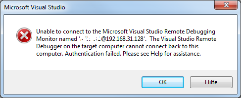Error: remote debugging VS2010
